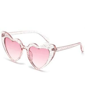 Accessories - Oversized Glitter Heart Sunglasses Clear With Pink